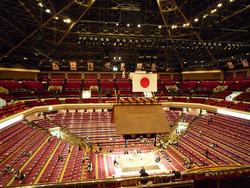 Tokyo's famous Sumo Hall, the site of the second night of the 2000 Super-Cup.  Unlike in 1994 and 1995, the Super J-Cup failed to sell out Sumo Hall for the 2000 event.